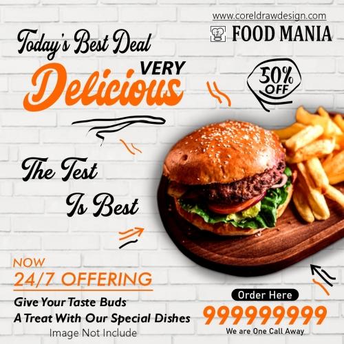 Burger Food Banner Template Design