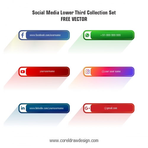 Social Media Lower Third Collection Set Free Vector