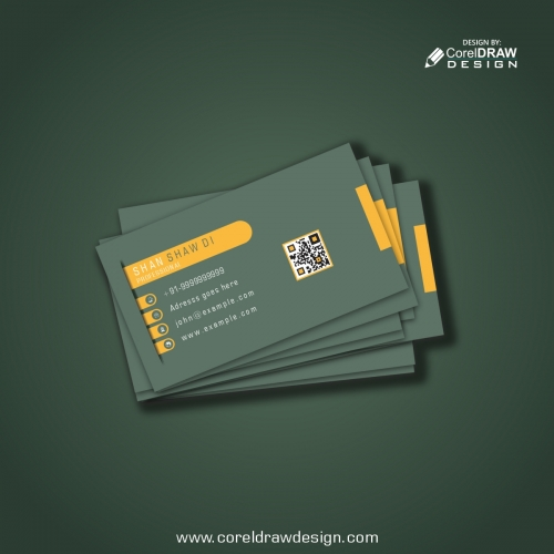 Elegant Business Card Template With Yellow Shapes