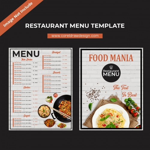 Restaurant Menu Template Front & Back Design