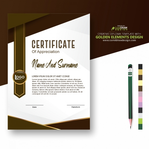 Creative Diploma Template With Golden Elements Design