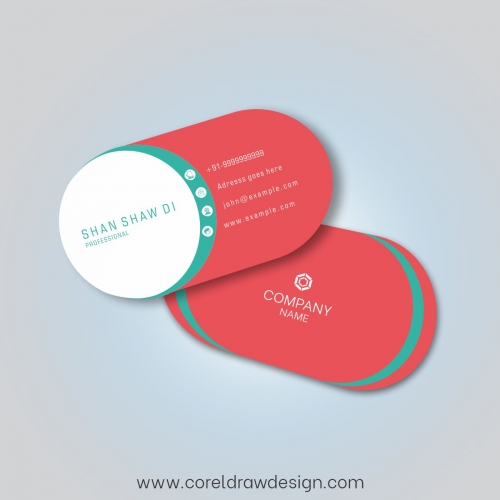 Creative Round Red Editable Business Card Design