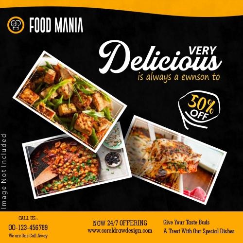 Veg Food Mania Restaurant Food Banner Template