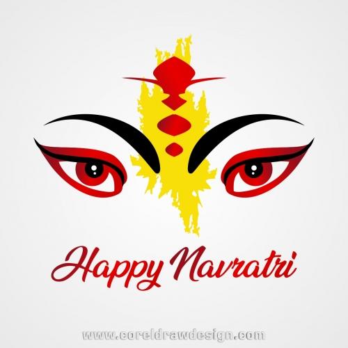 Happy Navratri With Hindu Goddess Free Vector