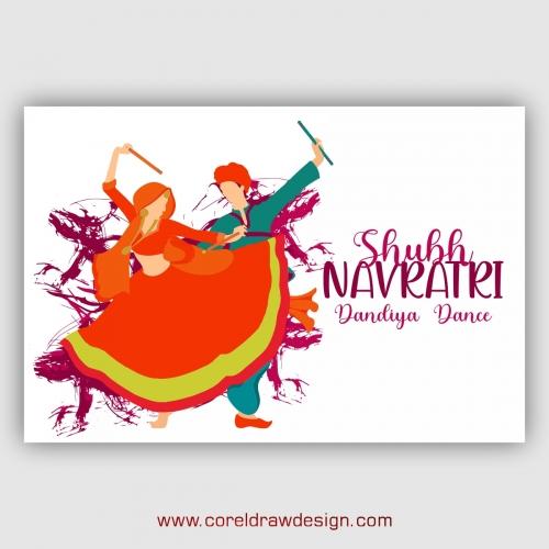 Shubh Navratri Dandiya Dance Night Pose With Background