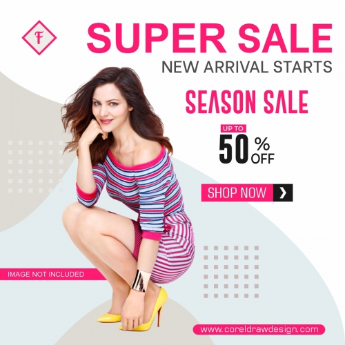 Season Sale Instagram Banner Post Design Free Vector