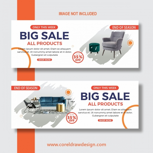 Furniture Sale Banners Free Vector Design