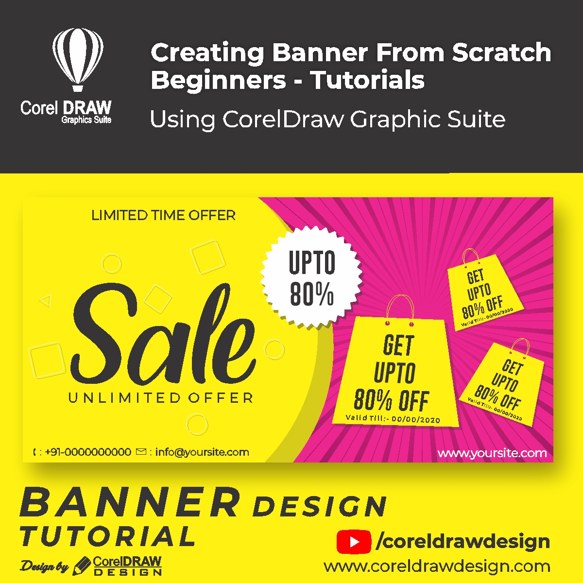 Creating From Scratch Sale Banner Digital Graphics Tutorial Coreldraw for Beginners