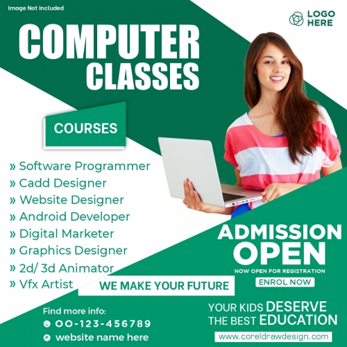 Computer Classes Admission Social Media Post Template Free Vector