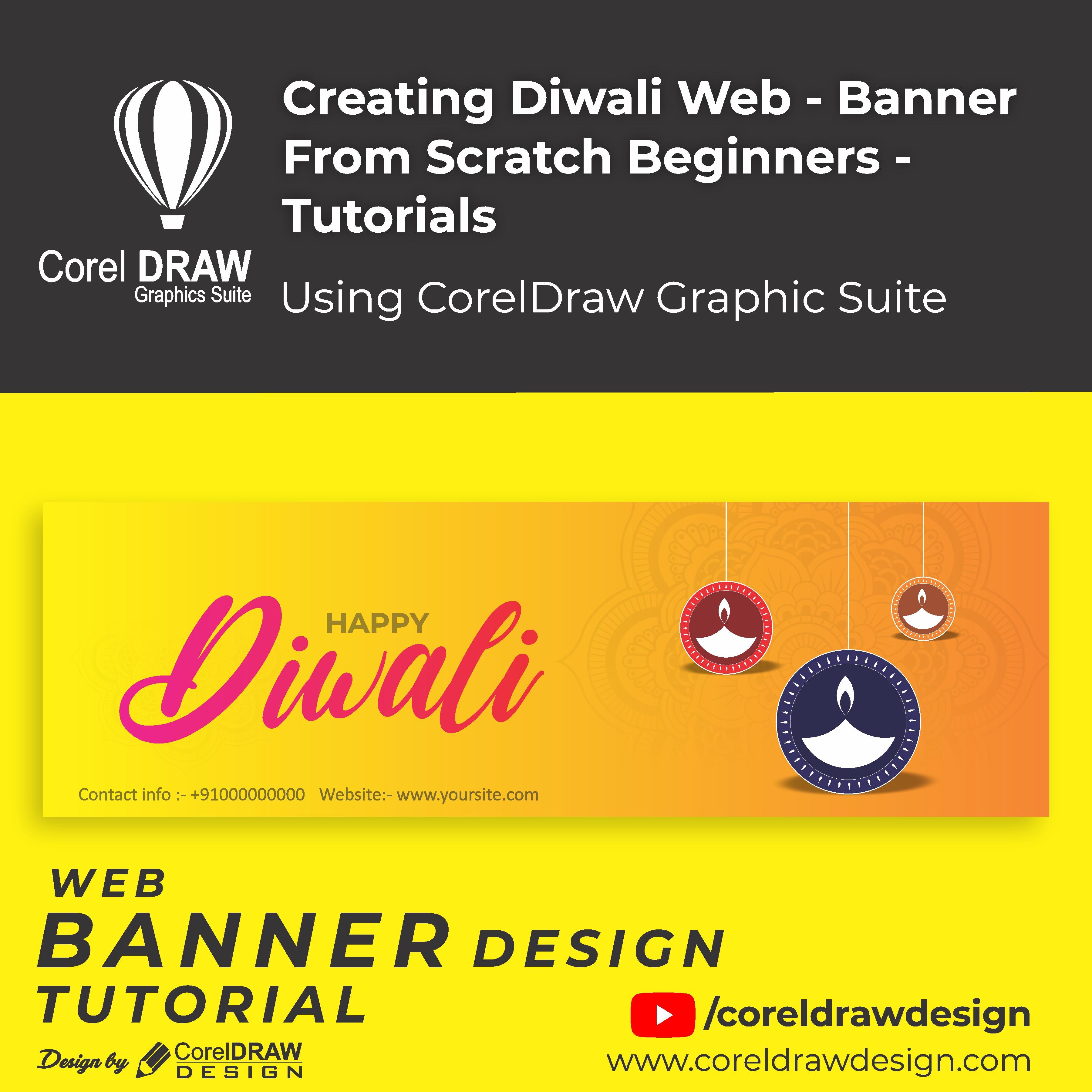 Creating - Creative Diwali web banner - Digital Graphics - Tutorial - Coreldraw for Beginners
