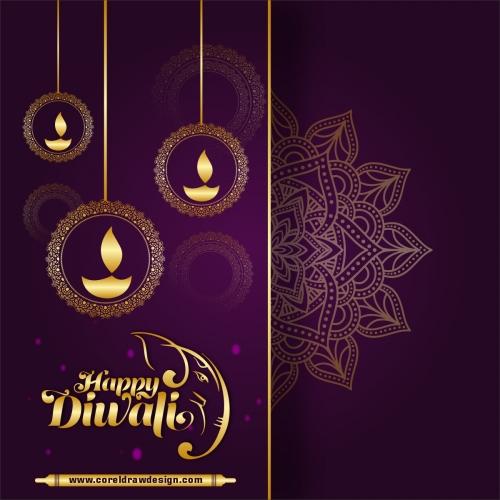 Traditional Happy Diwali Festival Card Design Free Vector
