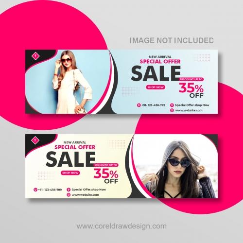 Modern Sale Banner For Web And Social Media Vector Design