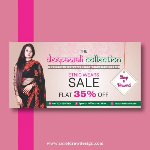 Diwali Sales Banner In Flat Design Free Vector