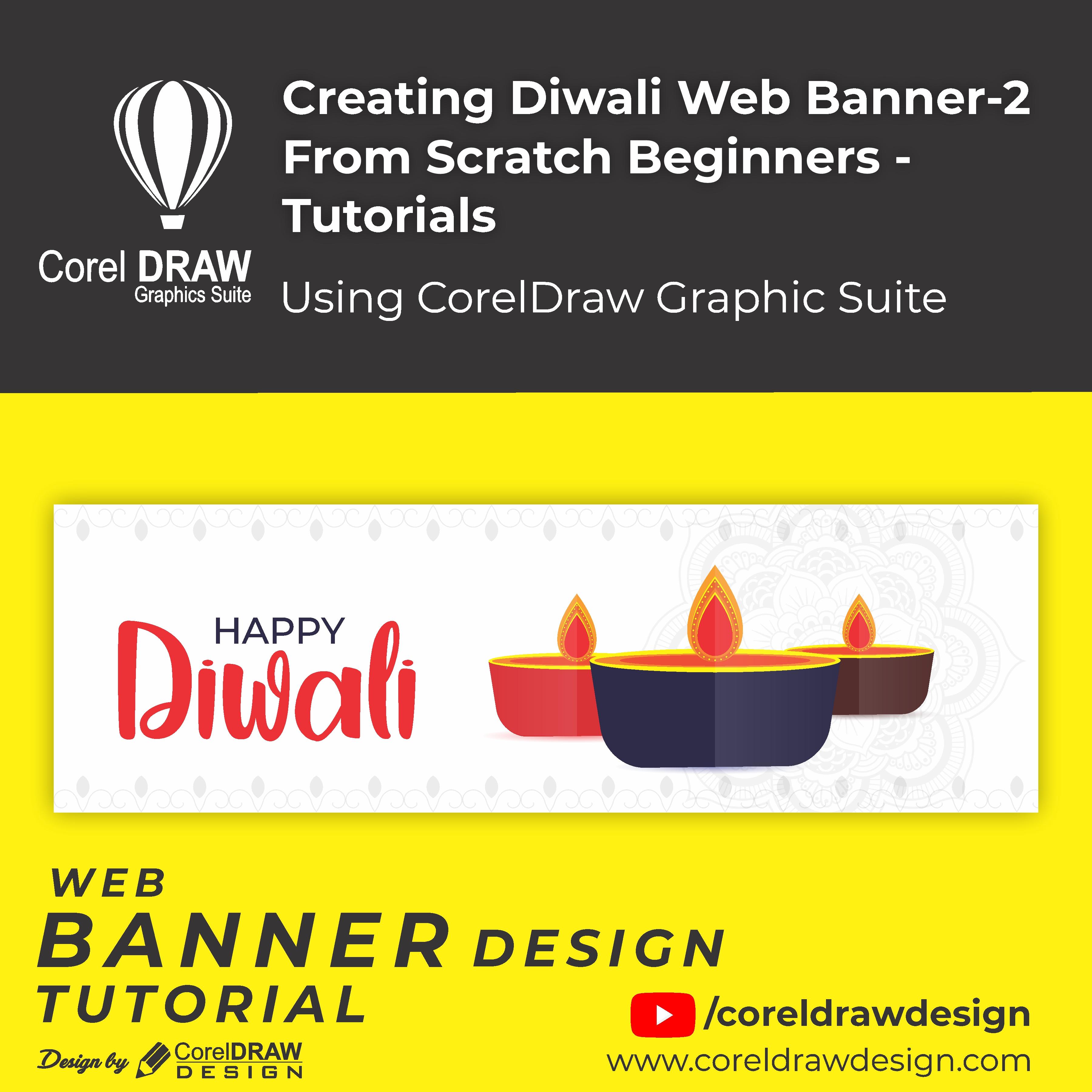 Creating - Creative Diwali web banner 2 - Digital Graphics - Tutorial Coreldraw for Beginners