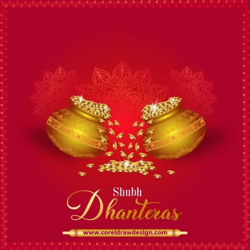 Kalash With Golden Coins Happy Dhanteras Festival Card Free Vector
