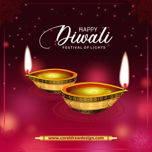 Diwali Diya With Frame Of Rangoli Decoration Premium Vector