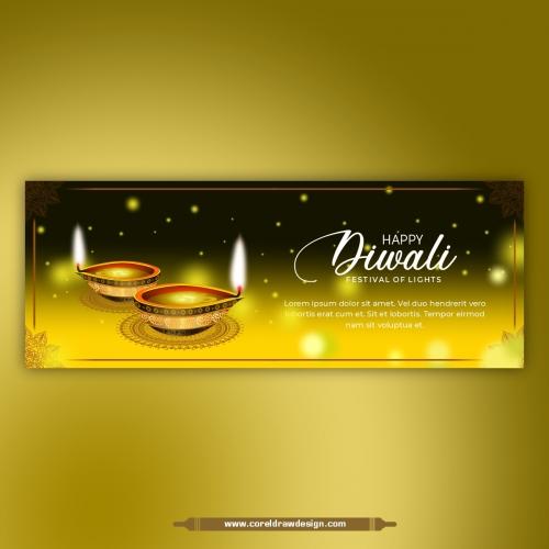 Happy Diwali Creative Festival Banner Design Free Vector