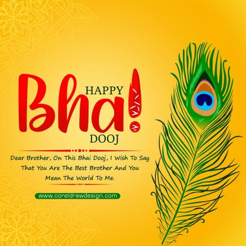 Happy Bhai Dooj Yellow Decorative Free Vector