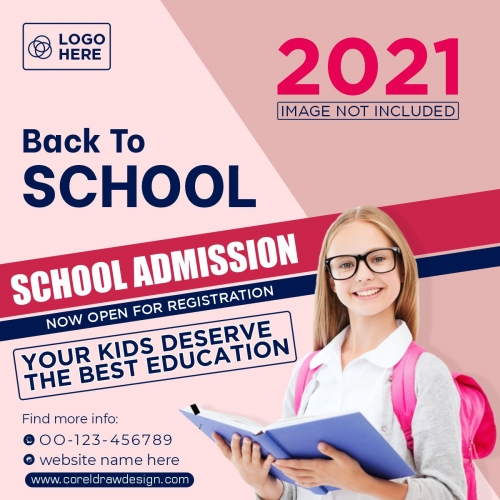 School Admission Banner Template Free Vector Design