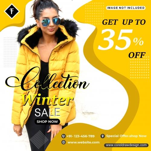 Winter Sale Fashion Instagram Post Template Design