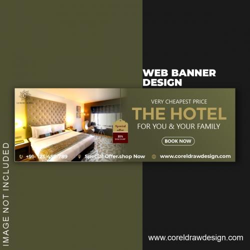 Hotel Booking Web Banner Template Design Free Vector Design