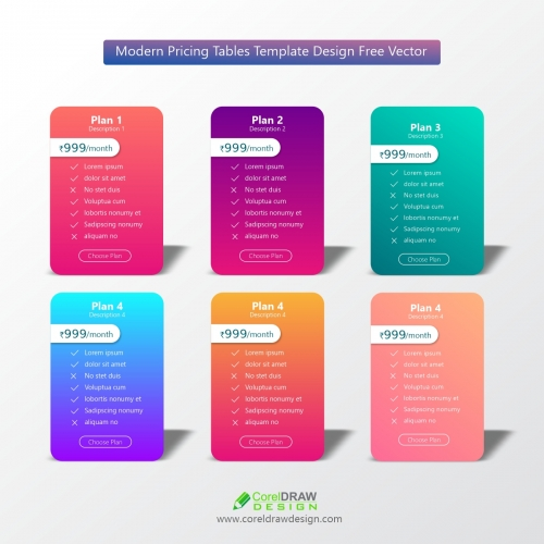 Modern Pricing Tables Template Design Free Vector
