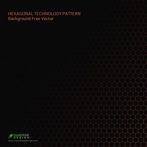 Hexagonal Technology Pattern Background Free Vector CDr