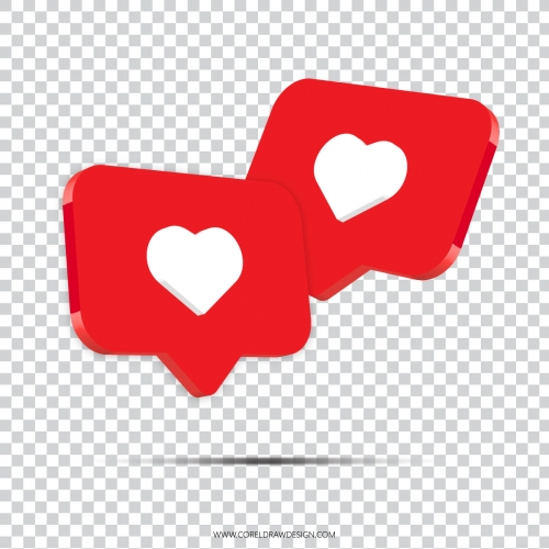 3D Instagram Likes Icon Vector