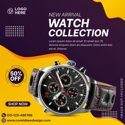 Watch Collection Promotion Social Media Banner Template Design