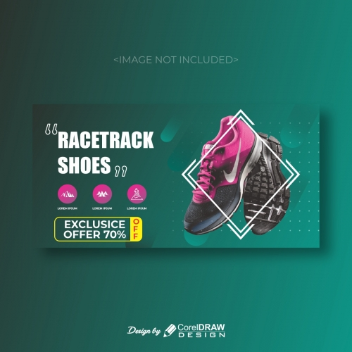 Racetrack shoes for camping banner