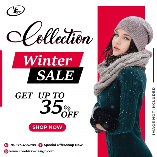 Winter Sale Template Banner Fashion Free Vector Design