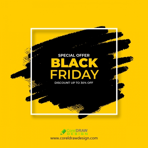 Black Friday Sale Banner with Abstract Brush Stroke Free Vector