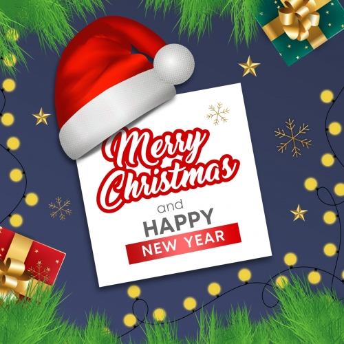 Merry Christmas and Happy New Year Greeting Card, Xmas Background with Santa, Holiday Banner, Web Poster Free Vector