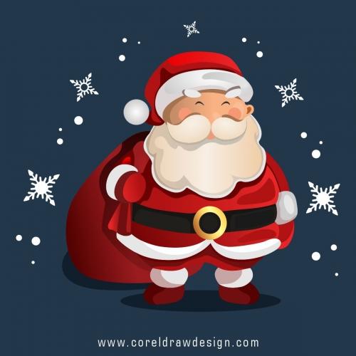 Christmas Character Santa Holding A Bag Premium Vector