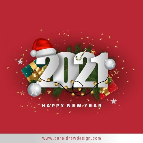 Happy New Year 2021Text Background Premium Vector