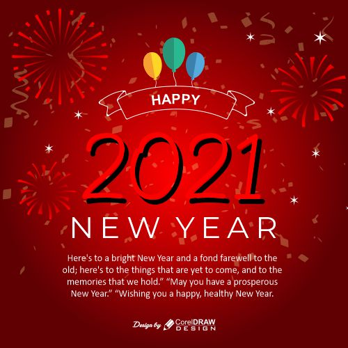 Happy new year 2021 Red template