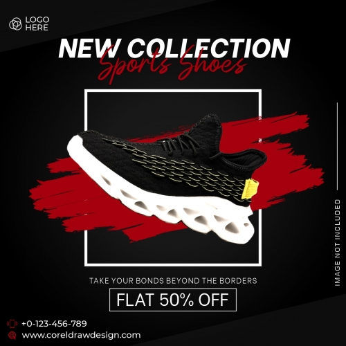 Modern Black Shoes Sale Banner Template Free Vector