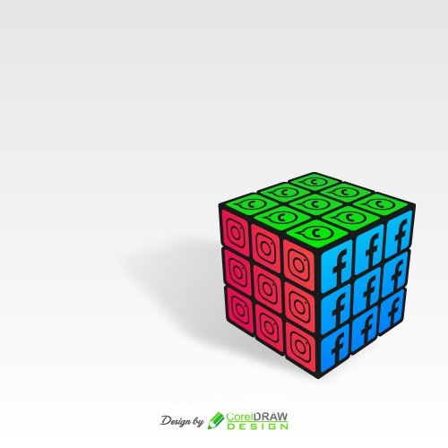 Rubik Cube with Social Media Icons Background, Free CDR