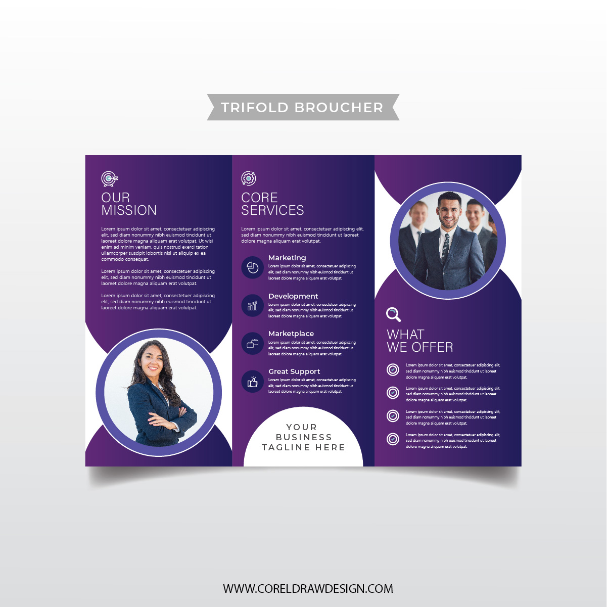 Professional Company Trifold Broucher Template