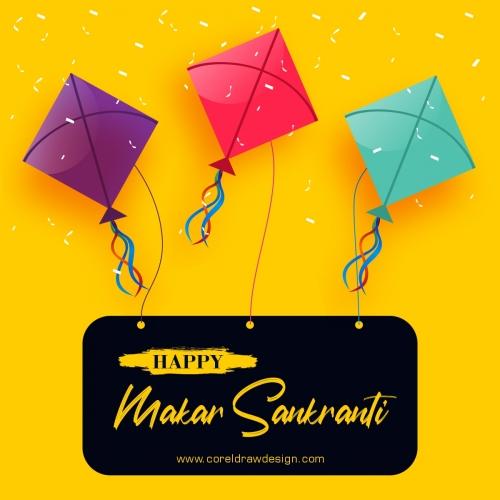 Happy Makar Sankranti With Three Kites Designs Free Vector
