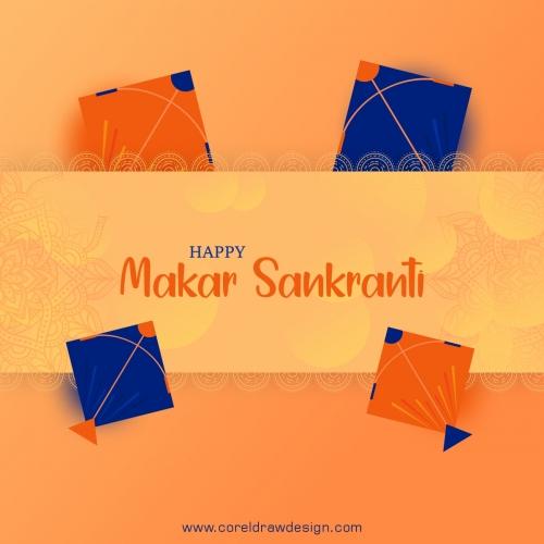 Makar Sankranti Decorative Background With Colorful Kites Free Vector