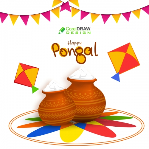 Happy Pongal Flat Background Free CDR