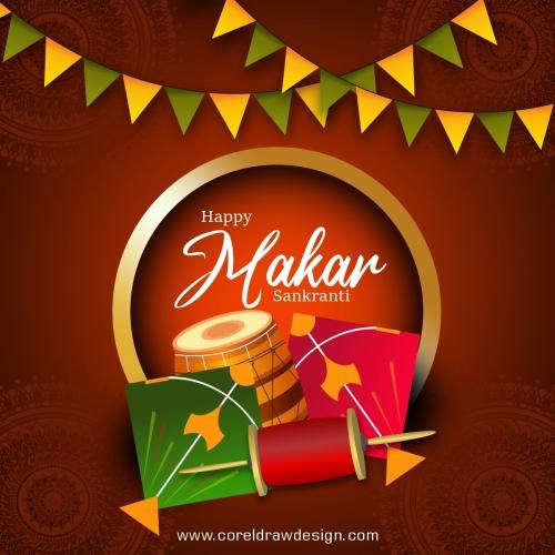 Decorative Background For Happy Makar Sankranti Celebration Premium Vector