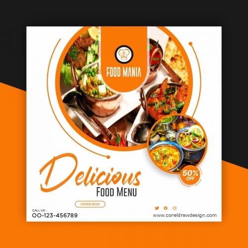 Delicious Food Menu Social Media Post Banner