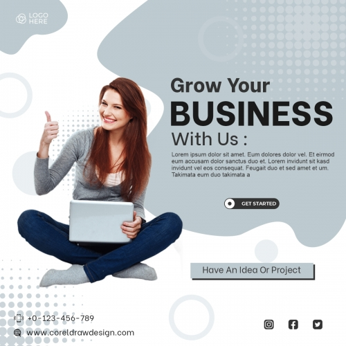 Grow Your Business  Banner Concept With Woman Working Free Vector