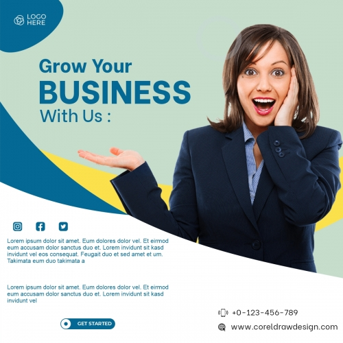 Grow Your Business Concept With Woman Working Free Vector
