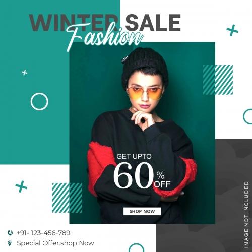Winter Fashion Sale Instagram Post Template Vector Design