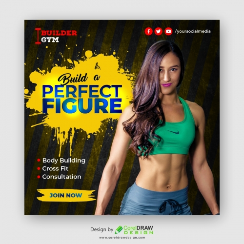 Sport and Fitness Banner Template, Free Vector