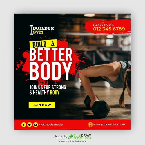 Sport and Gym banner template with photo Free Vector