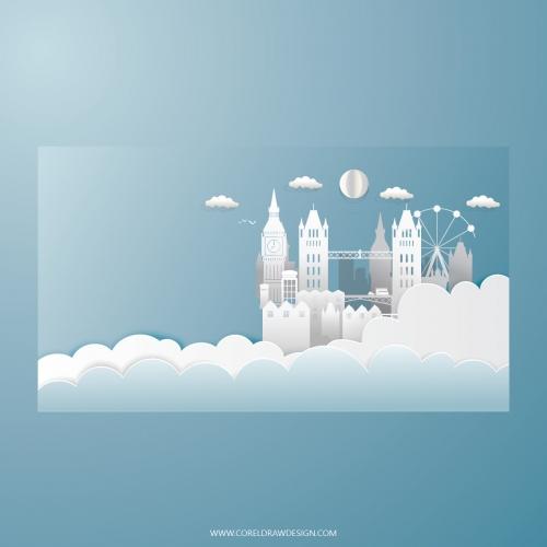 Cloudy London Papercut Background